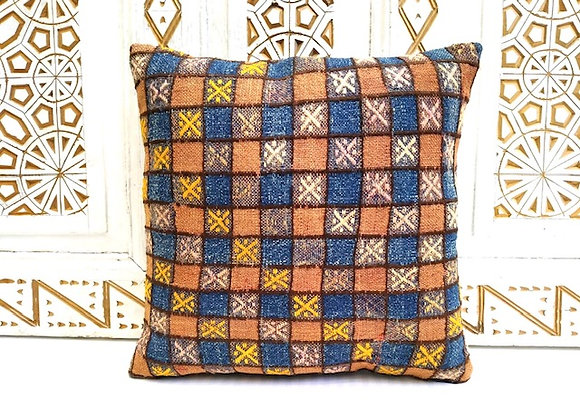Vintage Kilim Throw Pillow - Indigo/Came lCheck