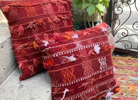 Boho Vintage Kilim Pillow 40x40cm - Vibrant  Nomadic Tassels