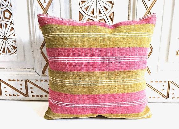 Vintage Kilim  Throw Pillow - Pastel Pink and Pistachio