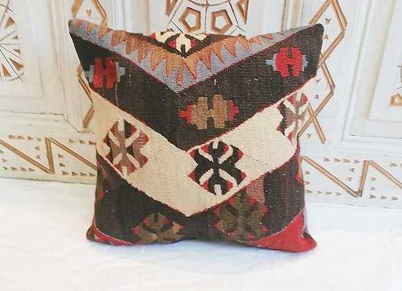 Vintage Turkish Boho Pillow                 40x40cm                 Charcoal Sky