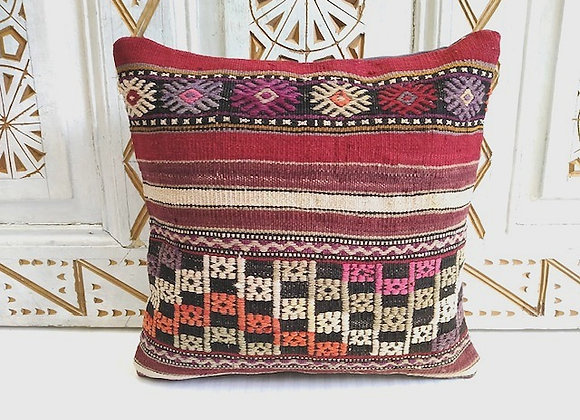 Vintage Kilim Pillow           'Textured flower'