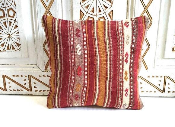 Turkish kilim Cushion  - Nomad Cinnamon stripe