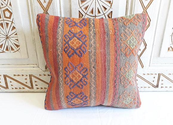 Vintage Turkish Kilim Pillow Soft motif