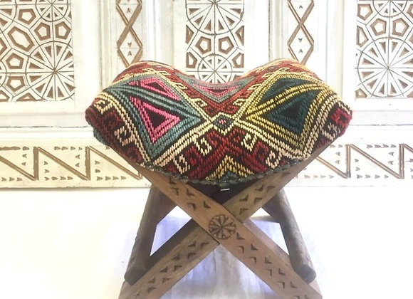 Tribal Teahouse Stool - Vintage Kilim                No 3 +4 Pink Diamond