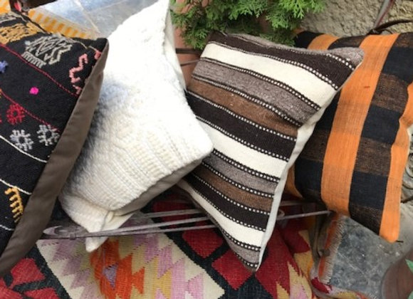 Vintage Kilim Pillow - Natural stripes