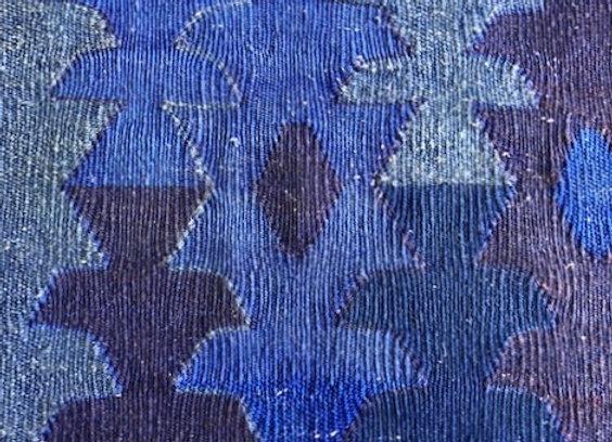 Handmade Vintage Kilim - Overdyed Indigo