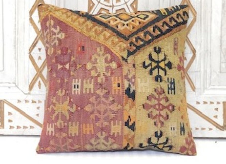 Vintage Turkish Kilim Cushion - Pumpkin & Aubergine & Black