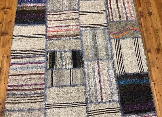 Vintage Patchwork Kilim Rug - Naturals and Blue/Greys