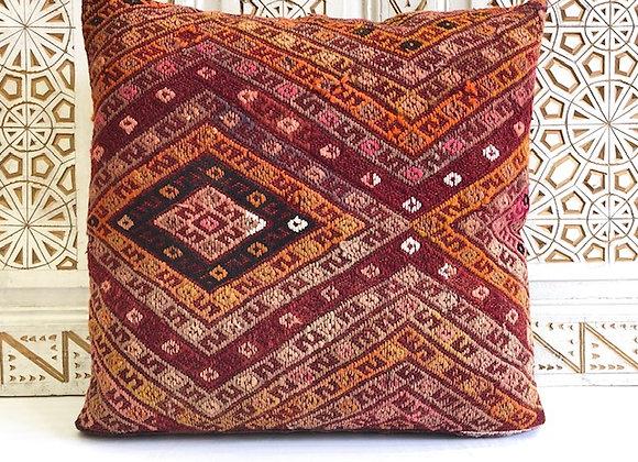 Vintage Turkish Kilim Pillow - Large 65 x 65 cm - Textured