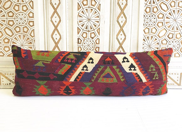 Vintage Turkish Kilim Cushion - Long Lumber / 90x30 cm