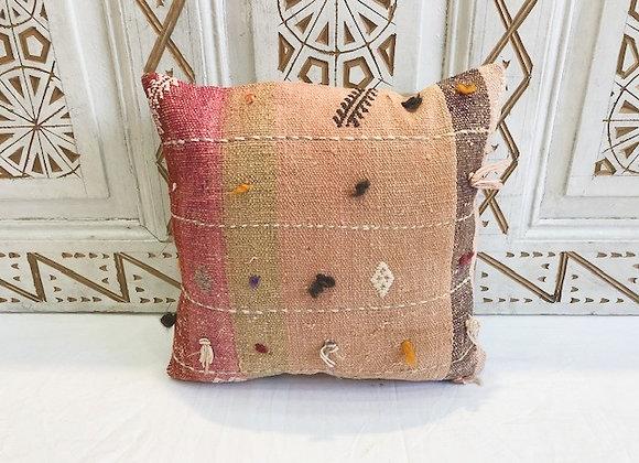 Vintage Turkish Boho Pillow         40x40cm         Pink & Flax Blush