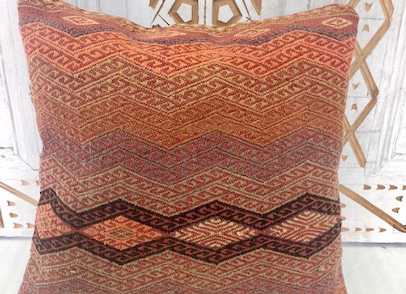 Vintage Boho Kilim Pillow - 40 x 40 cm  Fine Diamond motif