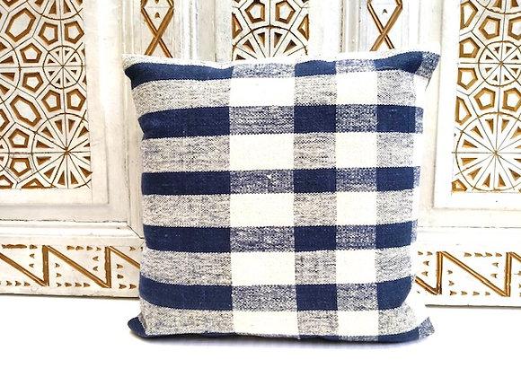 Vintage Kilim  Throw Pillow - Indigo Check