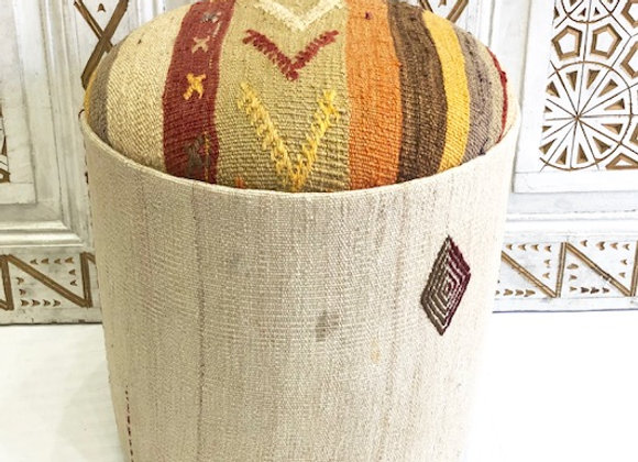 Vintage Kilim Pouf -Natural woven creams with subtle color