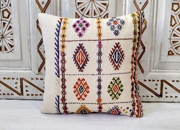 Vintage Turkish Boho Pillow  'Woven diamond'