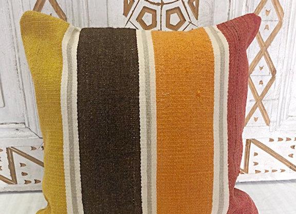 Vintage Boho Kilim Pillow - 40 x 40 cm Bold Stripe