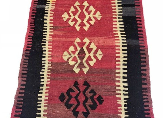 Vintage Konya Kilim - Bold + Red