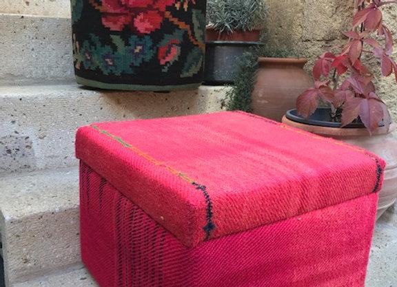 Hot Pink Square - Vintage Kilim Pouf