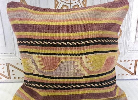 Vintage Turkish Kilim Cushion - 40 x 40 Aubergine + Pistachio Nomadic Stripe