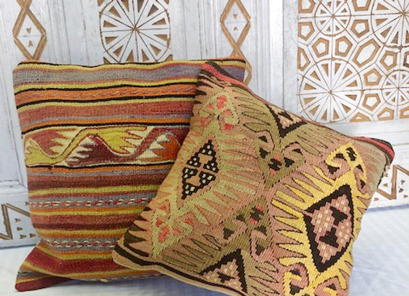 Vintage Turkish Kilim Cushion - Goddess Motif 'Yellow'