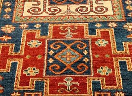 New Kazak Design Carpet - Three Bold Medallion - Navy