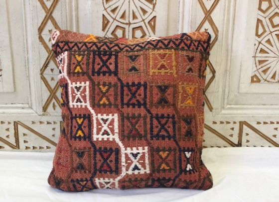 Vintage Turkish Boho Pillow         40x40cm -  'Cinnamon'