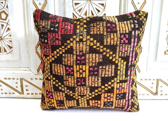 Turkish Boho Kilim Cushion -Textured Gold