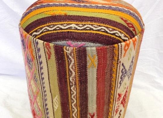 Vintage Kilim Pouf -Turkish Nomad Stripe