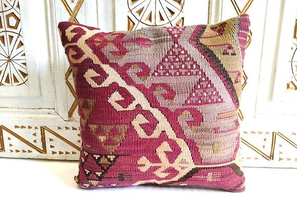 Vintage Tribal Kilim Throw Pillow - Aubergine