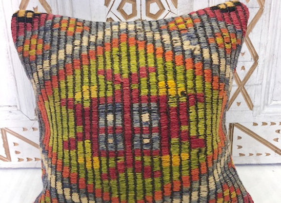 Vintage Boho Kilim Pillow -Vibrant centre motif