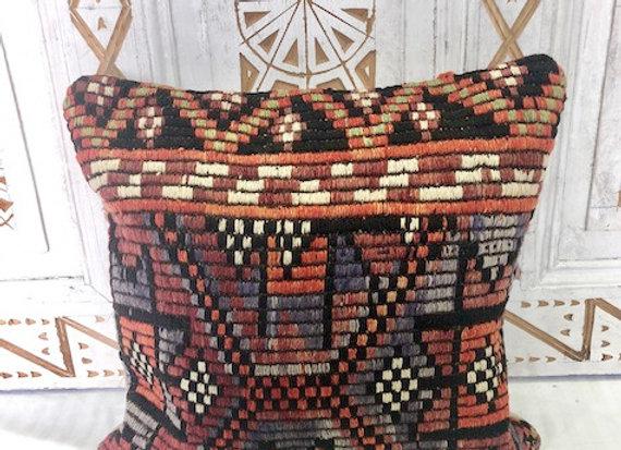Vintage Boho Kilim Pillow - Stunning Nomadic textured star motif