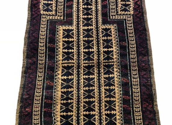 Tribal Antique Beluch Prayer Rug with Camel wool