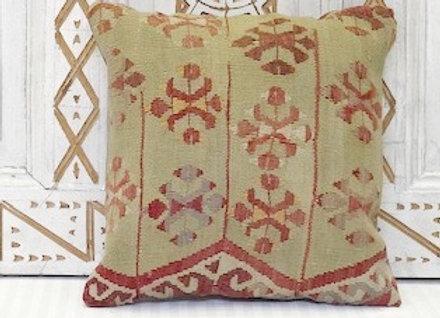 Vintage Turkish Kilim Cushion - Vintage Green