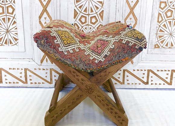 Handmade TurkishTeahouse Stool - Rustic Diamond