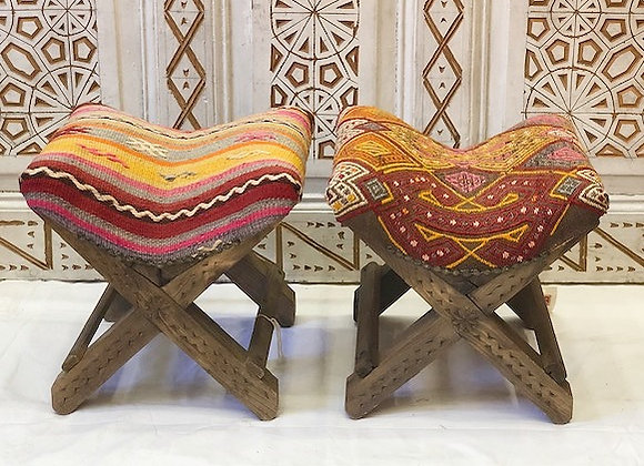 Handmade Turkish Teahouse Kilim Stool - Mix and Match