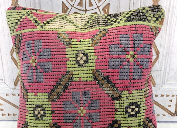Vintage Boho Kilim Pillow  - Pink + Soft green Rose