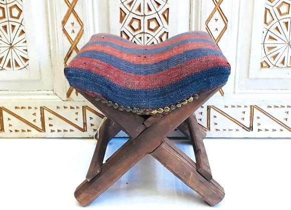 Handmade TurkishTeahouse Stool  - wood + vintage striped kilim