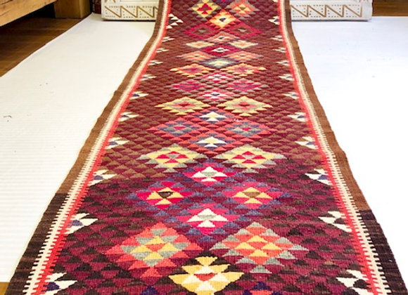 Kurdish Kilim Hall Runner  - Multi color