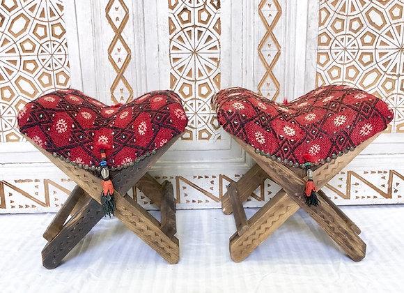 Handmade TurkishTeahouse Stool x 2  - Red+Boho Tassel