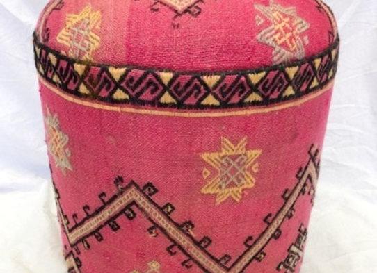 Vintage Kilim Pouf - Wild  Pink Boho