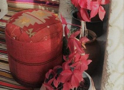 Sienna Red with Grey - Vintage Kilim Pouf