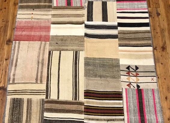Vintage Patchwork Kilim Rug - Shades of Naturals and Pinks