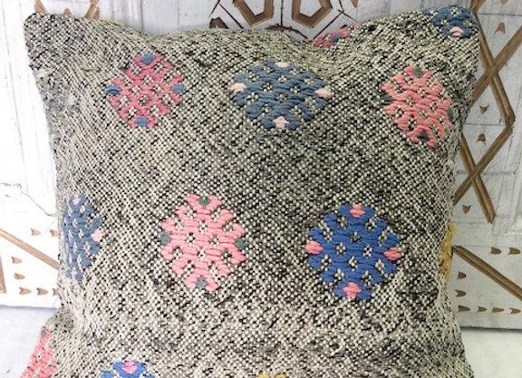 Vintage Boho Kilim Cushion -  40 x 40 cm  Soft grey with details