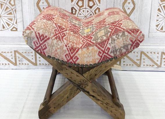 Turkish Teahouse stools - Wood + Vintage Kilim x 4