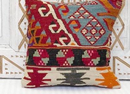 Vintage Turkish Kilim Cushion - Turquoise+Red Multicolor