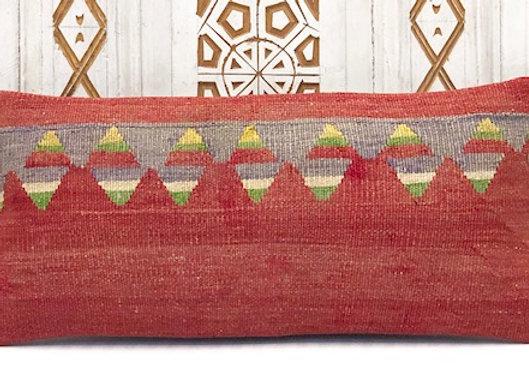 Vintage Turkish Kilim Cushion - SmallLumber Red/Grey