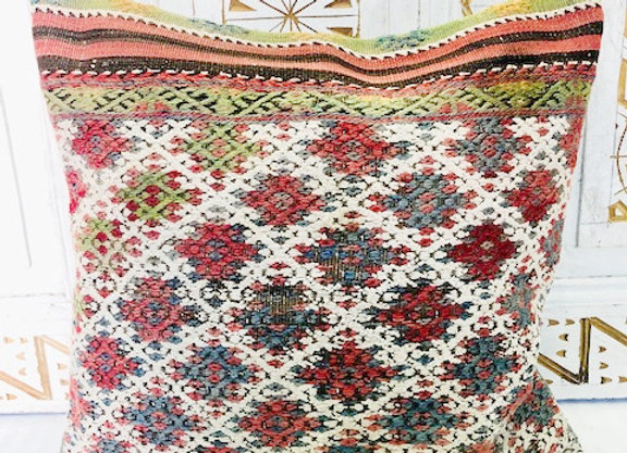 Vintage Boho Kilim Pillow - Stunning multcolor with nomadic highlights