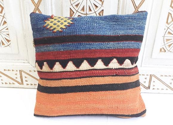 Vintage Turkish Kilim cushion -  Blue and tangerine