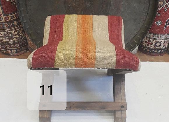 Vintage Kilim Teahouse Stool - Bold Boho Stripe