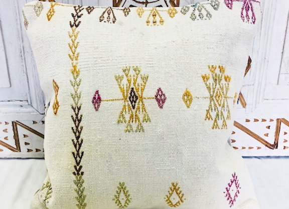 Vintage Boho Kilim Pillow - White Cotton with ' luck bringer ' motifs